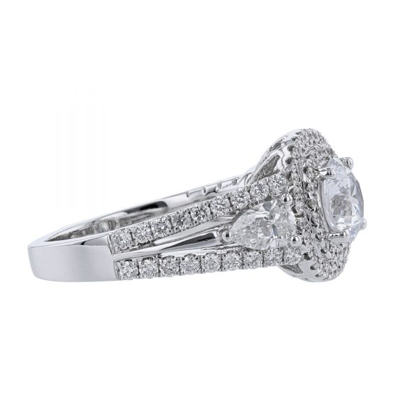 Nazarelle 18K White Gold Double Pear Diamond Engagement Ring