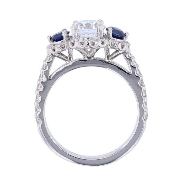 18K White Gold Sapphire Diamond Ring