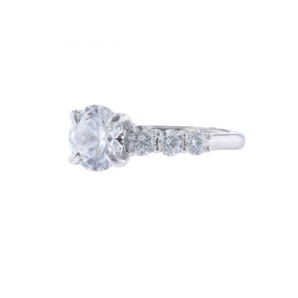 14K White Gold Six Diamond Engagement Ring