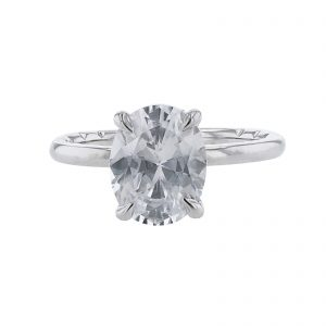 14K White Gold Under Halo Diamond Ring
