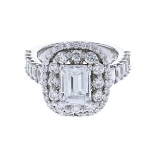 Nazarelle 14K WG Double-Halo Emerald Cut Diamond Ring