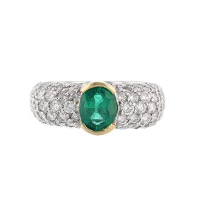 Gold Platinum Emerald Diamond Ring