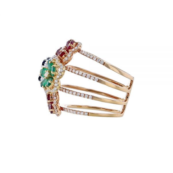 Rose Gold Floral Multi Gemstone Ring