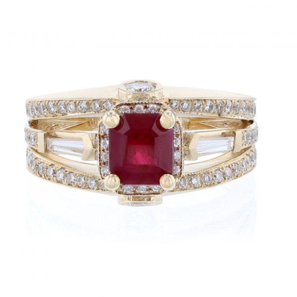 14K Yellow Gold Ascher Cut Ruby Diamond Ring