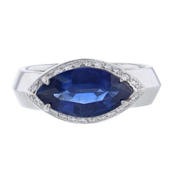 Platinum Blue Sapphire Diamond Ring