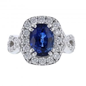 14K White Gold Corundum Sapphire Diamond Ring