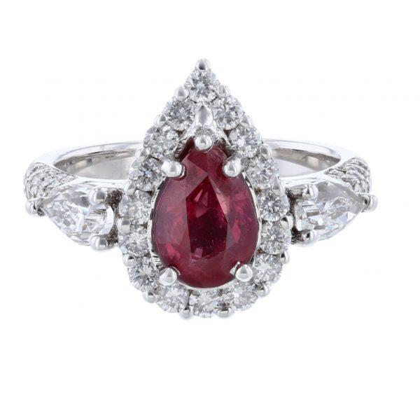 14K White Gold Corundum Ruby Diamond Ring