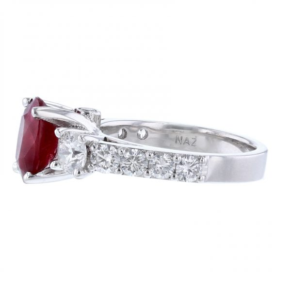 14K White Gold Oval Corundum Ruby Diamond Ring