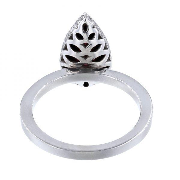 14K White Gold Pear Ruby Diamond Ring