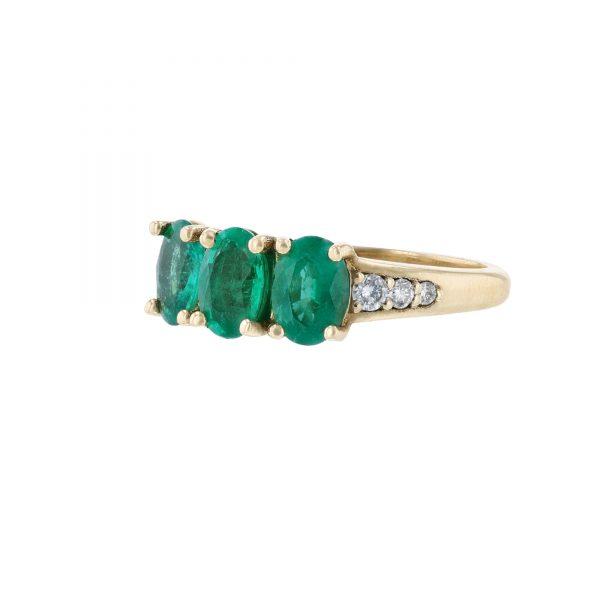 14K Yellow Gold Triple Emerald Diamond Ring