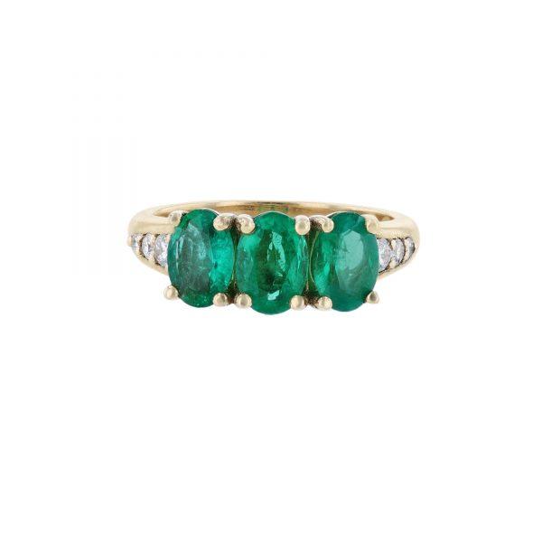 14K Yellow Gold Triple Emerald Diamond RingRIng