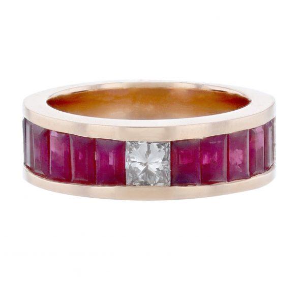 14K Rose Gold Princess Ruby Diamond Band
