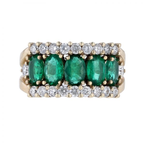 14K Yellow Gold Oval Emeralds Diamond Ring