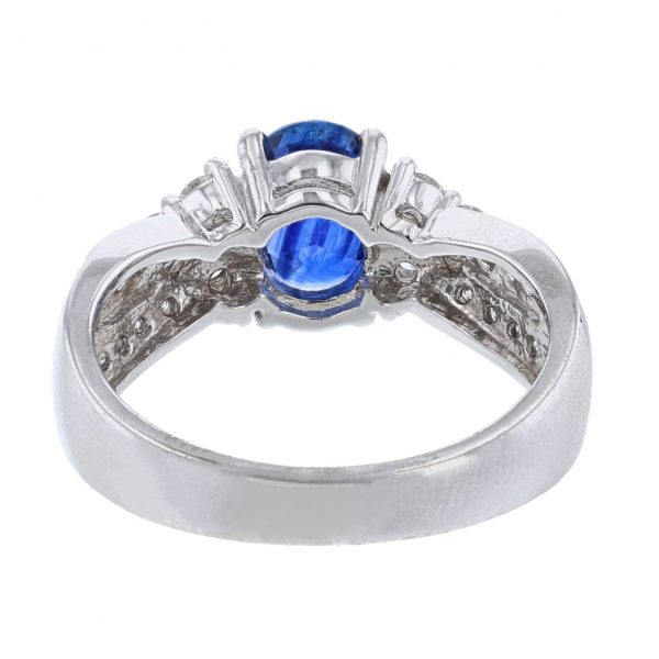 14K White Gold Oval Blue Sapphire Ring