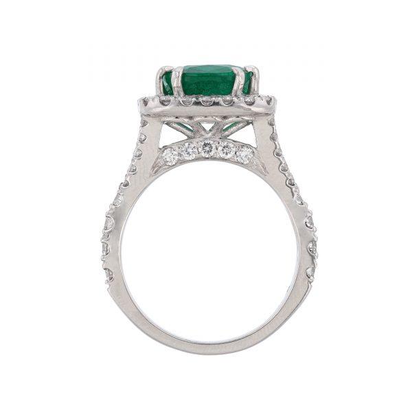 Platinum Beryl Emerald Diamond Ring