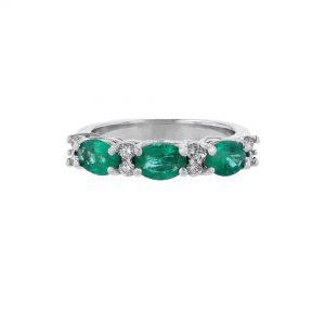 14K White Gold Triple Emerald Diamond Ring