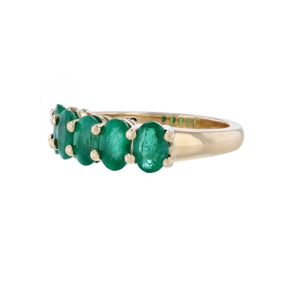 14K Yellow Gold Five Emerald Ring