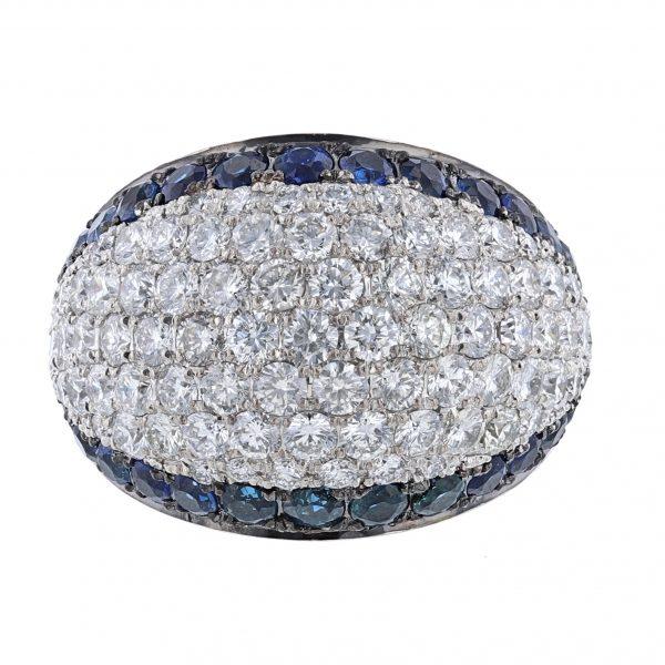 14K WG Blue Sapphire Edge Diamond Ring