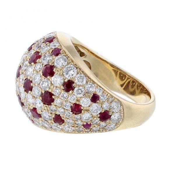 14K Yellow Gold Mosaic Ruby Diamond Ring