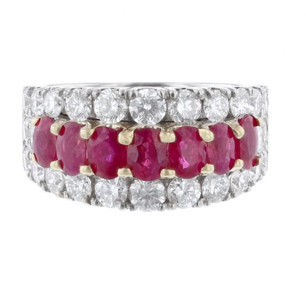 14K Gold Oval Ruby Row Diamond Ring