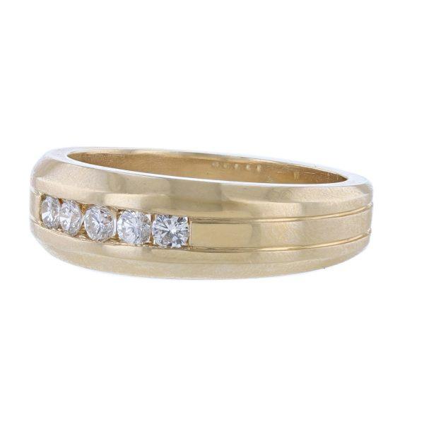14K Yellow Gold Five Diamond Band