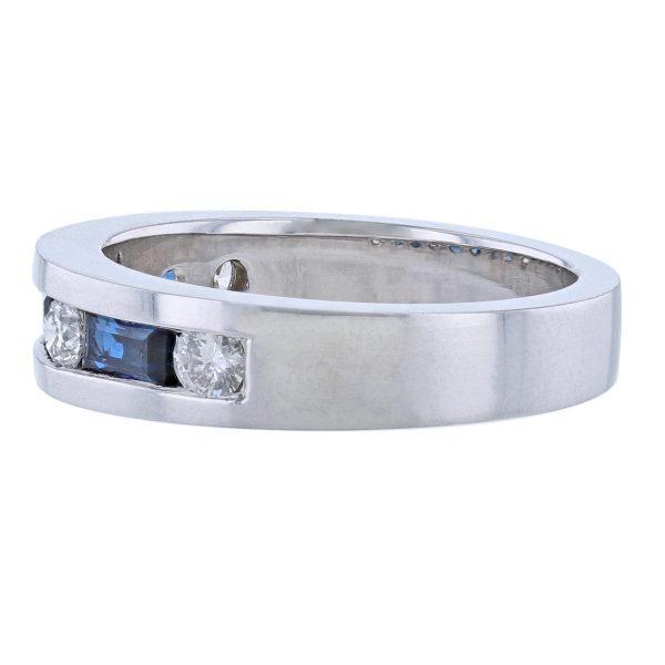 14K White Gold Sapphire Diamond Band