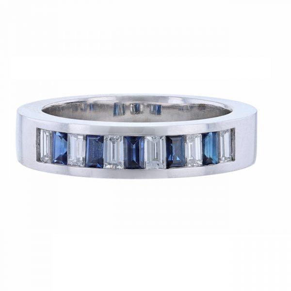 14K WG Baguette Sapphire Diamond Band